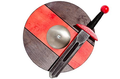 VIKINGOS pequeños / conjunto rojo del caballero: espada 40cm/15,75 en y escudo 34cm/13,4 en juguete de madera para niños / niños