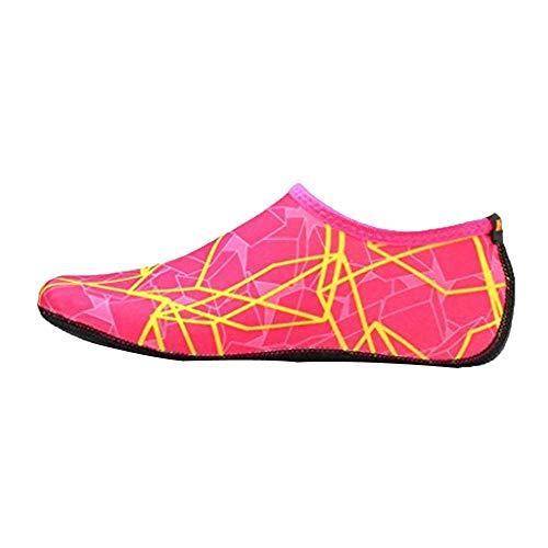 Xmiral Wasserschuhe Damen Gummisohle Drucken Laufschuhe Trocknend Badesandale Schwimmschuhe Wasserdicht Barfuß Schuhe für Pool Surfen Yoga rutschfest Badelatschen(Rosa rot,38-39 EU)