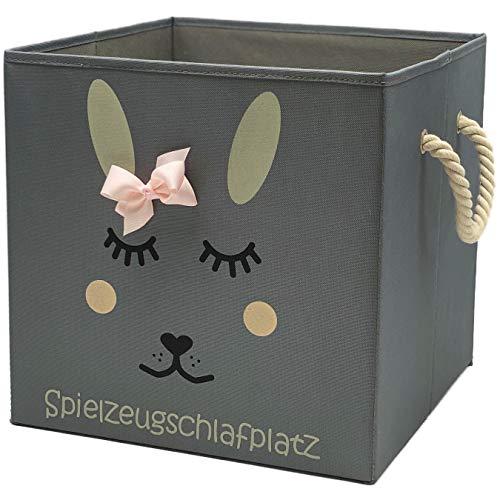 Sappralot Kids - Hase Aufbewahrungsbox grau für Kinder, Baby Aufbewahrungskorb, schöne praktische Spielzeugkiste für jedes Kinderzimmer, ideal für IKEA Regale (33x33x33), Hase (rosa)