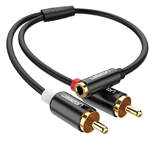 UGREEN 2 RCA Macho a Jack 3.5mm Hembra, Adaptador RCA en Y para HiFi Sistema, Cable Audio Estéreo Jack Hembra a 2RCA para Amplificador, Altavoces, Tocadisco, Mezclador, TV, MP3, Móvil,Tablet, PC, 25cm