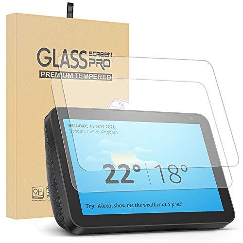 Lusee 2 Piezas Protector de Pantalla para Amazon Echo Show 8 Cristal Vidrio Templado [Dureza 9H] [Alta Definición] Resistente a los arañazos/Anti-Huellas 0.3mm Protector de Pantalla
