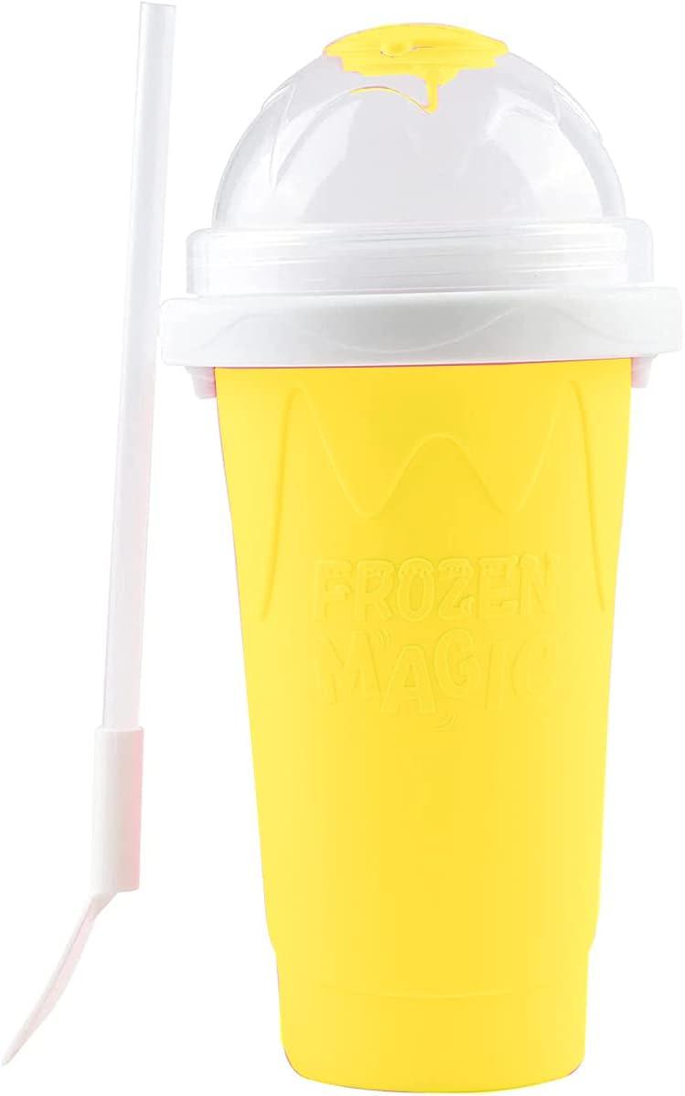 Smoothie Maker Cup TIK TOK Frozen Magic Squeeze Cup Slush and Shake Ice Cream Maker DIY Mug Cooling Milkshakes BPA-free Safe for Children Summer Kids Gifts DozingPig (Yellow)