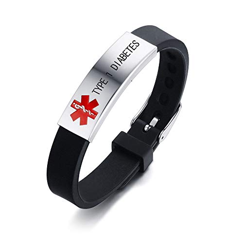 HEABY Medical Alert ID Bracelet Laser Engraved Type 1 Diabetes Adjustable Wristband for Men Women Emergency First Aid