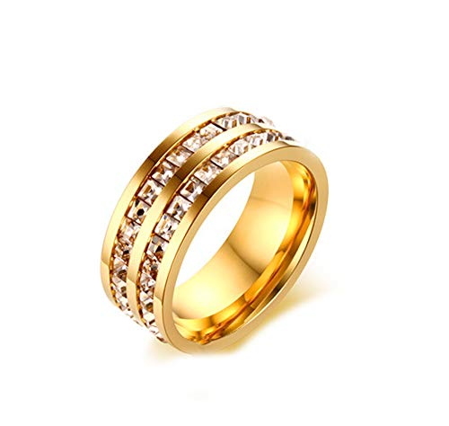 SFK (シフク) ジルコニア リング レディース 婚約 結婚 指輪 幅 3mm シルバー ピンクゴールド ピンキーリング 可愛い (ダブル×ゴールド, 8)
