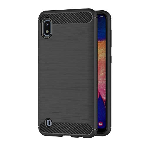 COPHONE Funda compatible con Samsung Galaxy A10 , Negro Silicona Funda para Galaxy A10 Carcasa Fibra De Carbono Funda Case