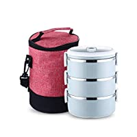 キッド大人のステンレス鋼日本のお弁当Boxs絶縁熱弁当金属食器-Green_3Layer_and_Bag 1-4レイヤポータブル食品容器 CT55CT (Color : Blue 3 Layer and Bag)