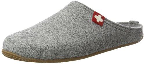 Living Kitzbühel Unisex-Erwachsene Pantoffel Schweizer Kreuz mit Fußbett Pantoffeln,Grau (Grau 610), 47 EU