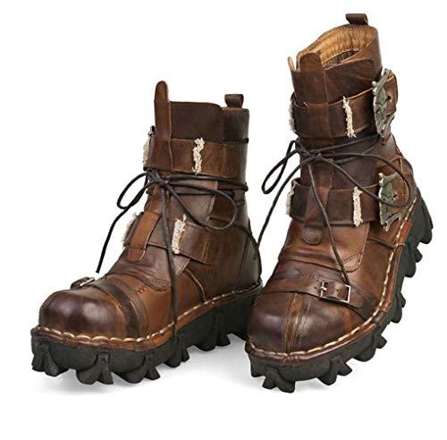 VISTANIA Mens Martin Botas Cuero Genuino Impermeable Botas Altas del ejército gótico cráneo Punk Motocicleta Steampunk Zapatos Martin Western Cowboy Botas Uniformes Botas,Brown,44