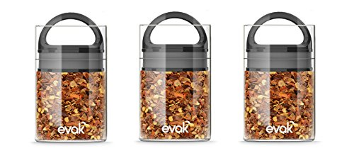 Best PREMIUM Airtight Storage Container for Coffee Beans, Tea and Dry Goods - EVAK - Innovation that Works by Prepara, Glass and Stainless Black Gloss Handle, Mini: Set of 3