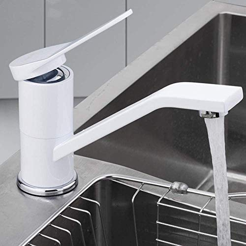 YZDD® Grifo Grifo de cocina Laca blanca en spray montada en la plataforma Grifo de cocina giratorio Mezclador Orificio simple Orificio simple Agua fría y caliente