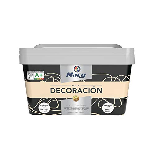 Macy Pintura Plástica Mate Decoración Interiores Excelente Cubrición, Acabado Perfecto. Color Crema. 4 Litros