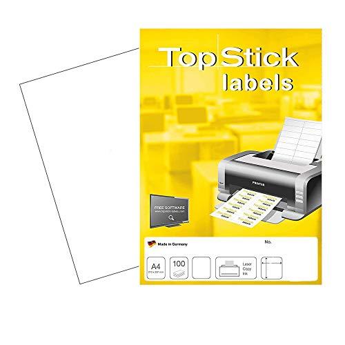 TopStick 8720 Universal Etiketten DIN A4 groß (210 x 297 mm, 100 Blatt, Papier, matt) selbstklebend, bedruckbar, permanent haftend Adressaufkleber, 100 Klebeetiketten, weiß