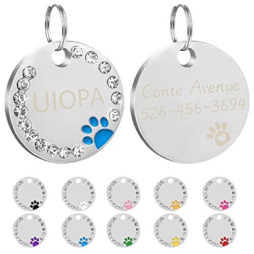 Uiopa 2Pzs Chapa Perro Grabada, Huella Placa Perro Grabada Placas Identificativas Chapas Personalizadas Placas para Perros, Etiquetas de Identificación de Mascotas para Perros Gatos Collar (Azul)