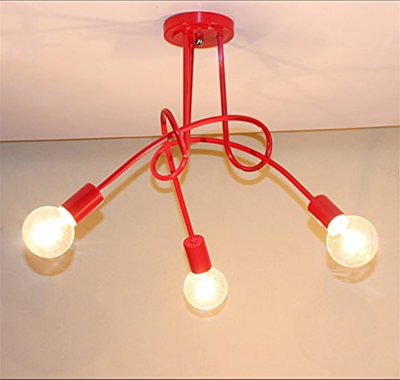 WEIMING-SHOP Moderne LED Kronleuchter Schlafzimmer Wohnzimmer Dendritische Lampen Eisen Persnlichkeit Kleidung Store Beleuchtung E27 Ohne Lampen Innenbeleuchtung ( Farbe   rot 3 HEAD )
