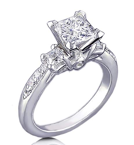 Venetia Realistic Supreme Princess Cut 3 Stones Simulated Diamond Ring 925 Silver Platinum Plated Pave Art Deco Decor 3NSQ5