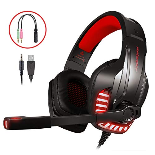 LATEC Gaming Headset für PS4, PC, Xbox One S, Laptop, Tablet, Phone, Mac, Gaming Kopfhörer mit Mikrofon, LED-Licht Stereo Bass Surround Rauschunterdrückungsmikrofon Over-Ear Headphones