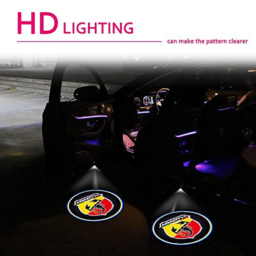 Luz de bienvenida a la puerta 2 unids decoración de automóviles Abarth...