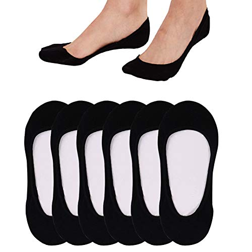 6 Pack Ultra Low Cut No Show Socks Women Invisible for Flats and Dress Shoes Liner Socks for Women with Non-Slip Heel Grips