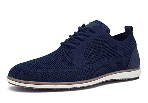 SMajong Scarpe Stringate Basse Derby Uomo Knit Oxford Scarpe da Business Casual Sneaker Scarpe Leggere Traspirante da Passeggio (Blu 44 EU)