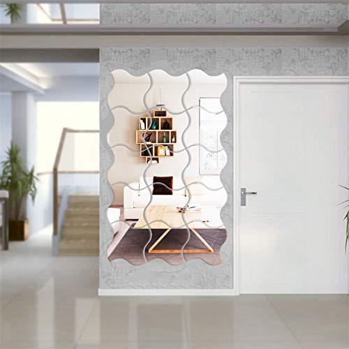 12 pegatinas de pared con espejo curvado de cuatro lados de 15 x 15 cm, para decoración de la pared del hogar, dormitorio, sala de estar, 3D, espejo acrílico autoadhesivo, decoración de fondo, impermeable, papel de pared
