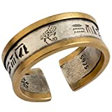 Copper and 925 Sterling Silver Open Ring Jewelry,Ancient Egyptian Hieroglyphics and Eye of Horus Ring for Men Women,Two Tone,7mm Size M