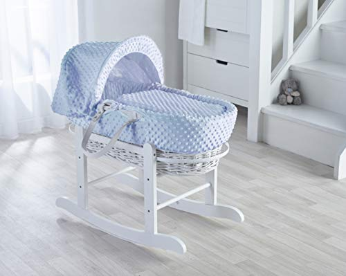 Blue Dimple White Wicker Moses Basket &Deluxe White Rocking Stand