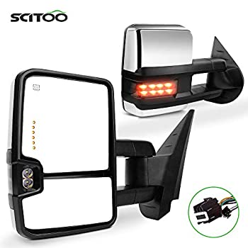 SCITOO Towing Mirrors fit for Chevy for GMC Automotive Exterior Mirrors fit 2007-2014 for Chevy Silverado for GMC Sierra  07 for New Body  with Amber Turn Signal Power Control Heated Back up Light