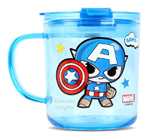 Marvel Captain America Blue Durable Cup Clear Plastic Cup Mug with Lid & Straw, 300ml