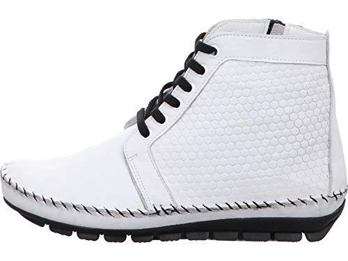 Gemini 031080-01 Damen Stiefeletten Stiefel Leder, Schuhgröße:41 EU, Farbe:Weiß