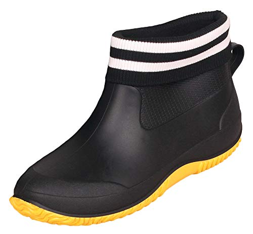 CELANDA Damen Kurze Gummistiefel Herren Regenstiefel rutschfeste Gartenschuhe Outdoor wasserdichte Schuhe Ankle Stiefel Chelsea Boots Schwarze gelbe gefüttert Größe 42 EU/Etikett 43