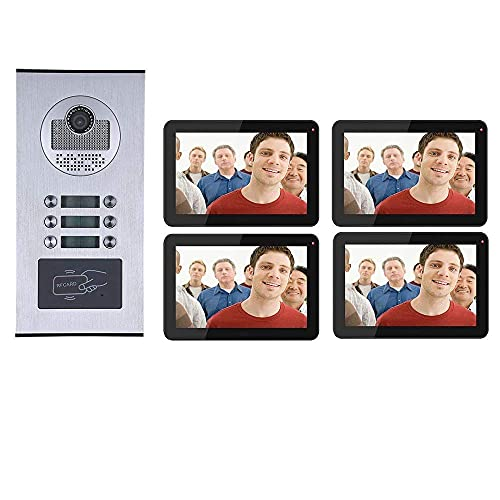 Leo2020 Doorbell,9 inch Record Wired WiFi 4 Apartments Video Intercom System HD 1000TVL Camera Doorbell Camera with 6 Button 4 Monitor Waterproof