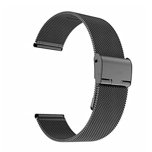 YSMLL Correa de Reloj Correa de Acero Adecuada para Correa Unisex Correa de Reloj Accesorios de Reloj (Color : Black, Size : 22mm)