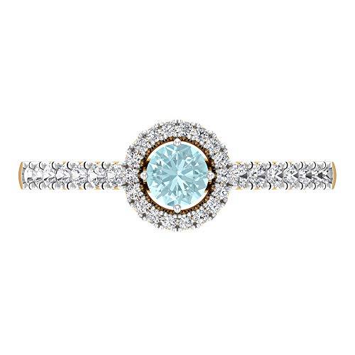 Anillo de 1/2 quilates de topacio azul cielo con piedras laterales de diamante, anillo de compromiso halo (1 mm de topacio azul cielo de corte redondo), 14K Oro amarillo, Size:EU 45