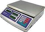 MyScale - Bilancia elettronica digitale professionale da banco tutta in acciaio inox sei display LCD 40 KG 1 G (Bar, Macelleria, Fruttivendolo, ECC.) - ACS-40X