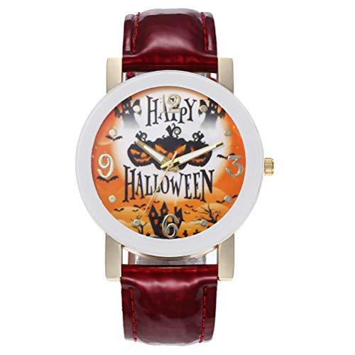 ifundom Halloween Decoraciones Tema Halloween Reloj de cuarzo Calabaza Bruja Castillo Reloj Moda Cinturón Reloj de Cuarzo para Mujeres Niñas Rojo Oscuro
