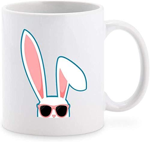 Cool Summer White Hipster Conejo Conejo con Tonos Rosados Icono de dibujos animados Taza de café Taza de té Novedad Tazas de regalo, 11 oz