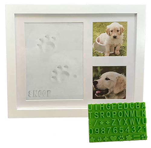 Ultimate Dog or Cat Pet Pawprint Keepsake Kit & Picture Frame - Premium Wooden Photo Frame, Clay Mold for Paw Print & Free Bonus Stencil. Makes a Personalized Gift for Pet Lovers and Memorials (White)
