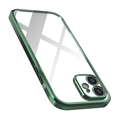 UEEBAI Funda transparente para iPhone 12 de 6,1 pulgadas, ultrafina, de poliuretano termoplástico, flexible, transparente, antigolpes, antihuellas, fina, color verde oscuro