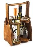 Wood Wine Bottle Glasses Caddy - Beer Carrier - Drinking Desk Accessories - Craft 4 Pack Bottle Case - Men's Wine Organizer - Glass Tray Holder - Wine Storage Stand - Drink Holder for Beer, for Wine