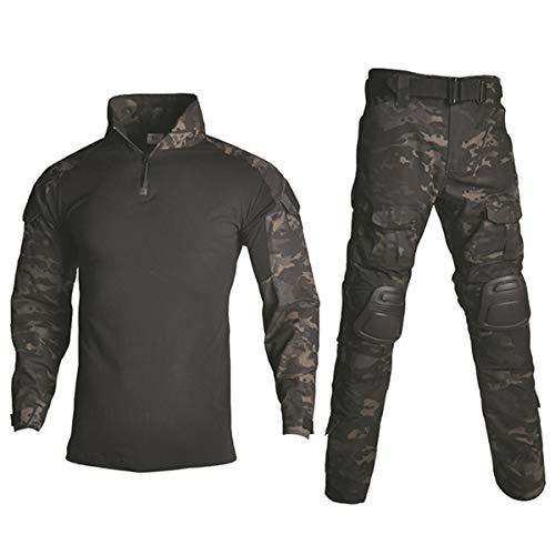 HARGLESMAN Men's Tactical Airsoft Long Sleeve BDU Uniform Set Shirts Snug Fitting Top Shirt Practical Painting Ball...