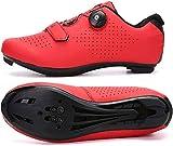 KUXUAN Zapatillas De Ciclismo De Carretera para Hombre - Zapatillas De Spinning con Zapatilla Peloton con Cala Compatible con SPD Y Delta para Hombre Zapatillas De Bicicleta,Red-39EU