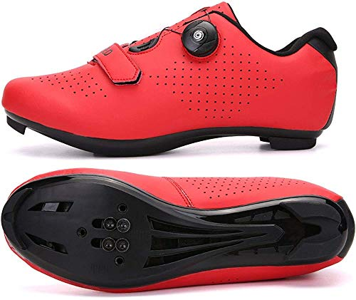 KUXUAN Zapatillas De Ciclismo para Hombre - Zapatillas De Spinning con Zapatilla Peloton con Cala Compatible con SPD Y Delta para Hombre,Red-38EU