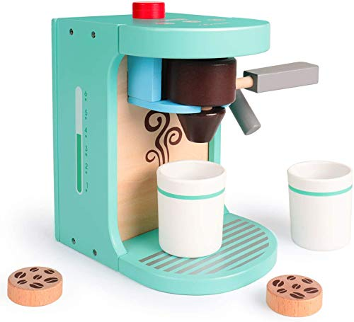 rolimate Kitchen Toy Wooden Coffee Machine Toy, Early Educational Toy Kitchen Sets Encourages Imaginative Play Kitchen Role Play Montessori Preschool Toy Best Gift for 2 3 4+ Years Boy Girl Toddler