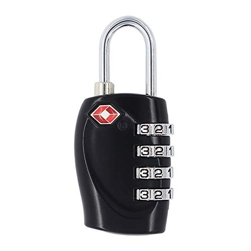Ogquaton 1 x tragbare und 4 Digitale Schlösser TSA-Sicherheitspasswortsperre Geeignet für Schulsport-Spind Aktenschränke (schwarz) Kreativ und nützlich