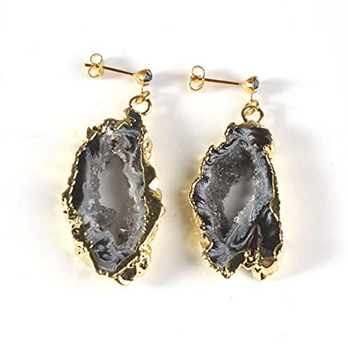 QWEQWE Pendientes de Gota Irregulares Slice Agates Crystal Rock Pendientes magníficos para Mujeres encantos Joyería de espárrago