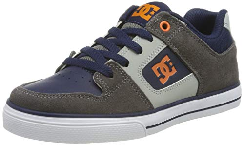 DC Shoes Jungen Pure - Shoes for Boys Skateboardschuhe, Grey/Dark Navy, 39 EU