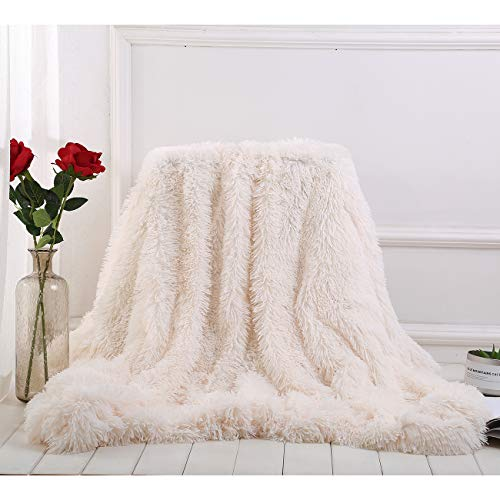 Ruitore Decke,Microfaserdecke Wohn-Decke Tagesdecke,Wohndecke flauschig,Decke Microfaser Kunstfell TV Decke Flauschig Klimaanlage Decke für Couch Bett (Beige,200 x 230 cm)
