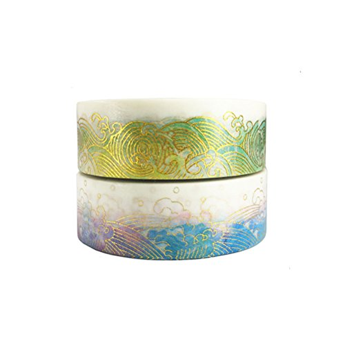 Gold Washi Tape Set of 2 Rolls – Unique design Gold Colorful Sea Wave Decorative DIY Japanese Masking Adhesive Sticky Paper Washi Tape Set (width: 15mm)