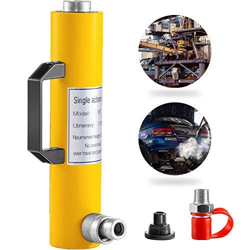 VEVOR Hydraulic Cylinder Jack 5Ton, Solid Ram Hydraulic Cylinder 7Inch/175mm, Stroke Single Acting Hydraulic Cylinder, w/Quick Connector, Portable Hydraulic Solid Jack Industrial Lifting Jack Ram
