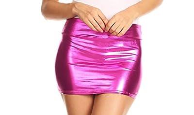 Sakkas Kaie Women's Shiny Metallic Liquid Wet Look Mini Skirt